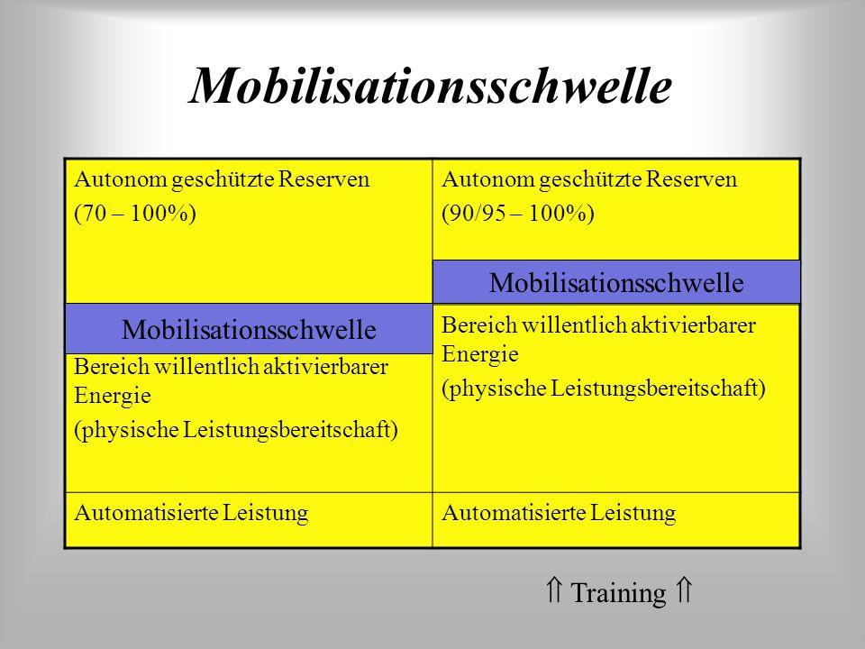 Phasen der Veränderung der Leistungsfähigkeit 1)Abnahme, 2) Wiederherstellung, 3) Superkompensation, 4) Auspendeln