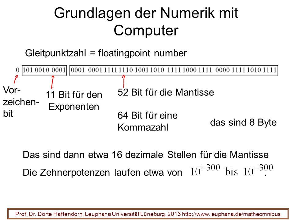 Grundlagen der Numerik mit Computer 11 Bit für den Exponenten Prof.