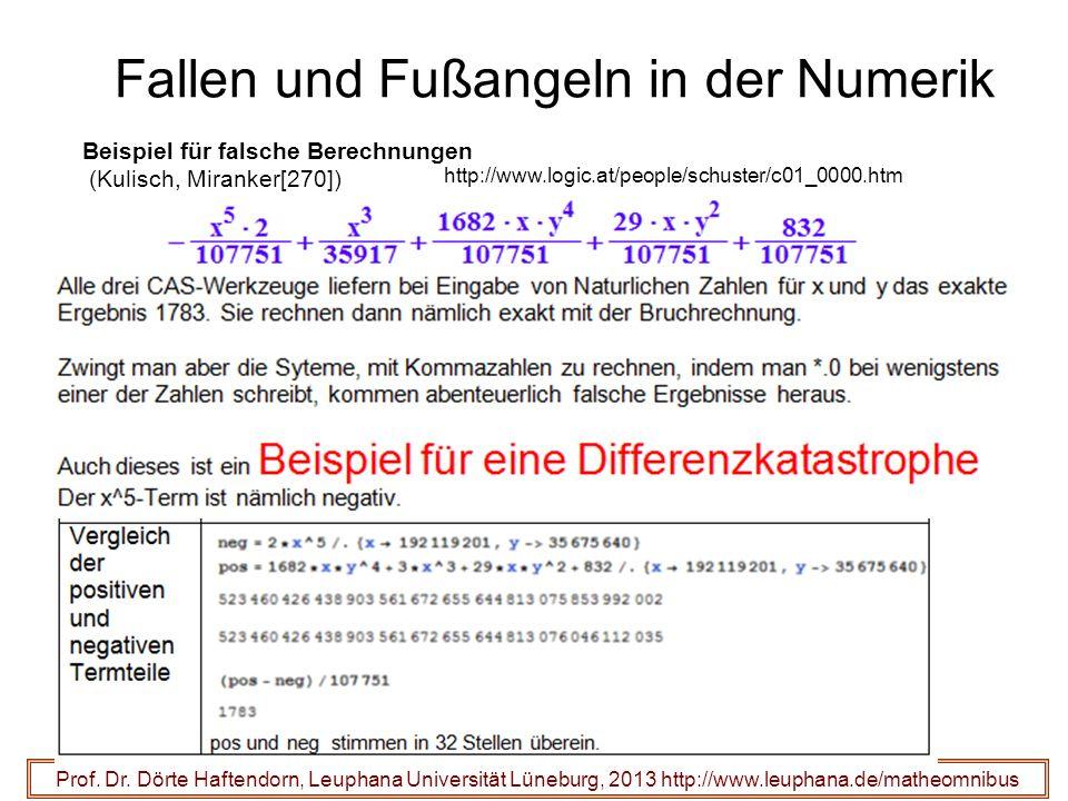 Fallen und Fußangeln in der Numerik http://www.logic.at/people/schuster/c01_0000.htm Prof.