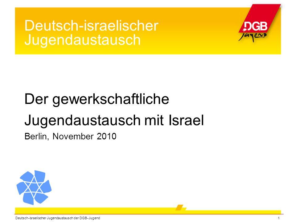 Deutsch-israelischer Jugendaustausch der DGB- Jugend1 Deutsch-israelischer Jugendaustausch Der gewerkschaftliche Jugendaustausch mit Israel Berlin, November 2010