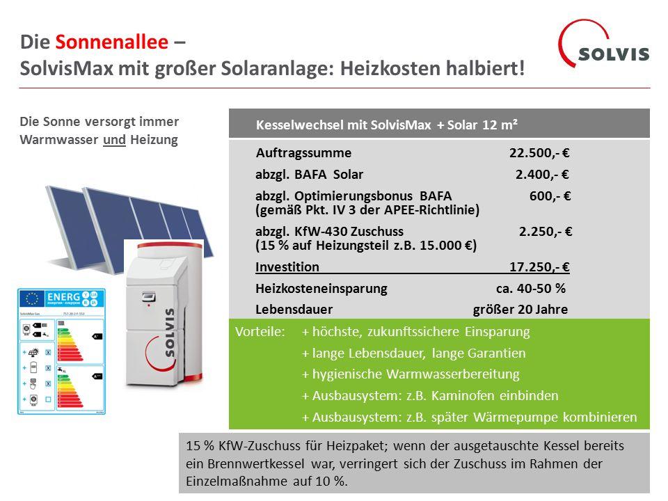 Kesselwechsel mit SolvisMax + Solar 12 m² Auftragssumme 22.500,- € abzgl.