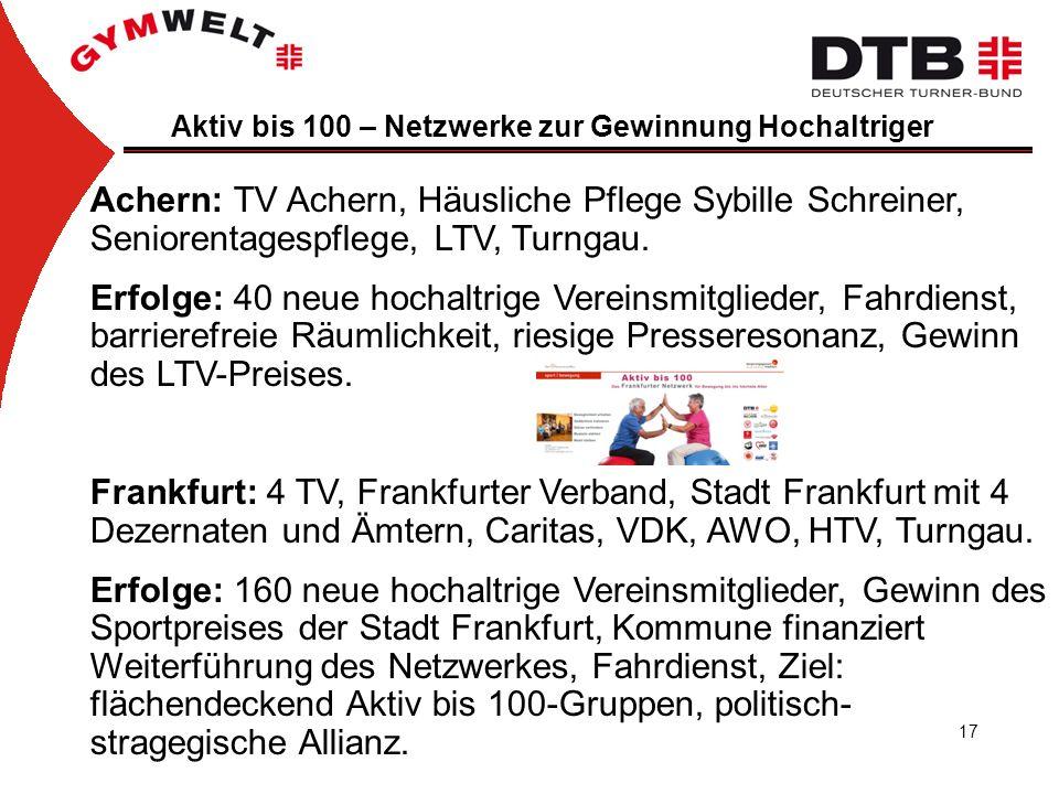 17 Aktiv bis 100 – Netzwerke zur Gewinnung Hochaltriger Achern: TV Achern, Häusliche Pflege Sybille Schreiner, Seniorentagespflege, LTV, Turngau.