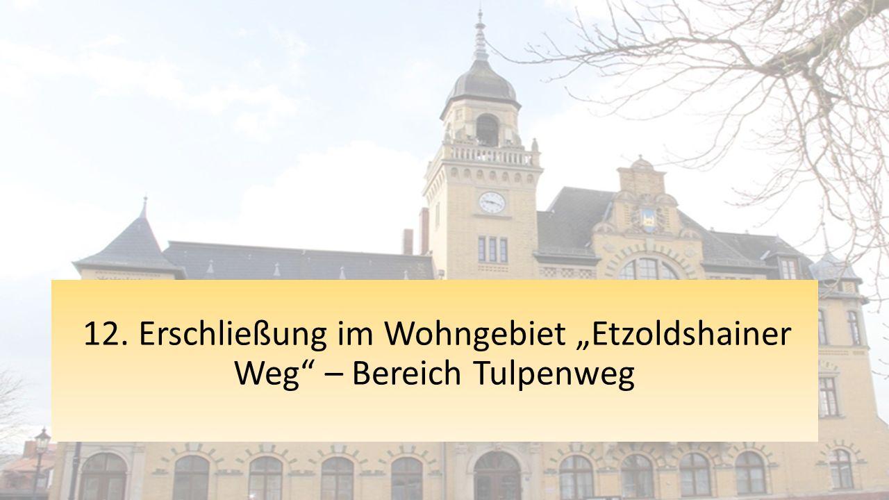 """12. Erschließung im Wohngebiet """"Etzoldshainer Weg – Bereich Tulpenweg"""