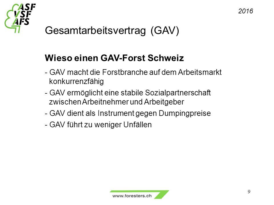Gesamtarbeitsvertrag (GAV) Wieso einen GAV-Forst Schweiz - GAV macht die Forstbranche auf dem Arbeitsmarkt konkurrenzfähig - GAV ermöglicht eine stabile Sozialpartnerschaft zwischen Arbeitnehmer und Arbeitgeber - GAV dient als Instrument gegen Dumpingpreise - GAV führt zu weniger Unfällen 2016 9