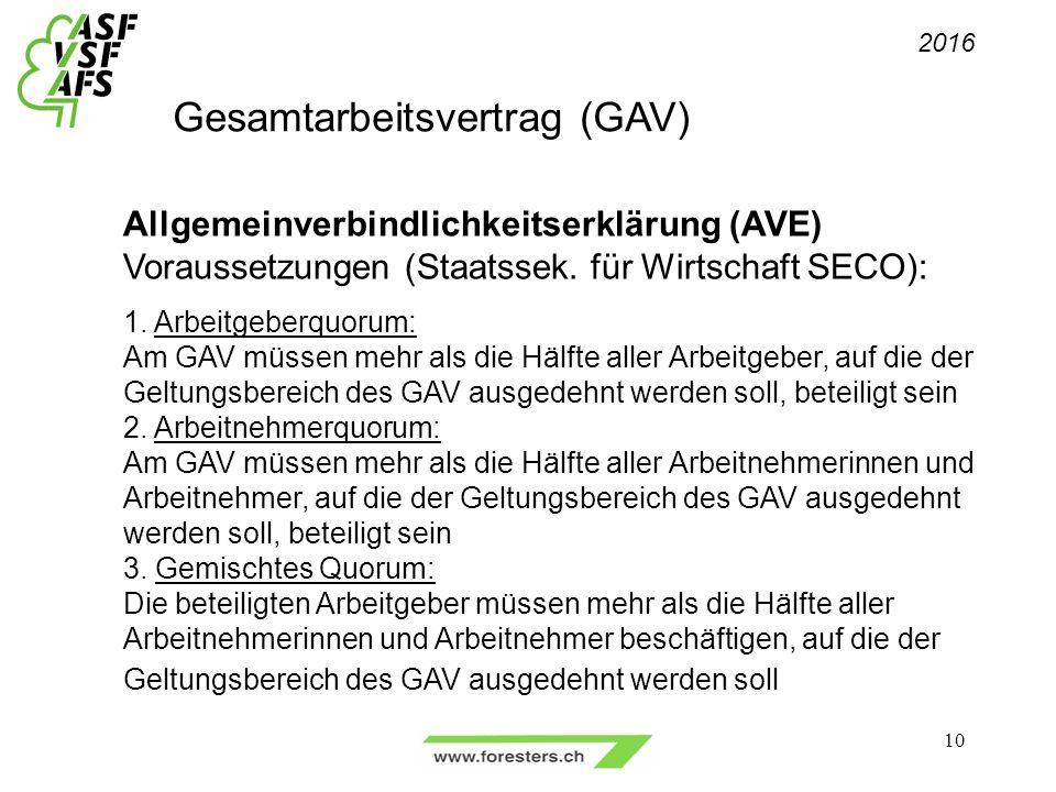 Gesamtarbeitsvertrag (GAV) 2016 10 Allgemeinverbindlichkeitserklärung (AVE) Voraussetzungen (Staatssek.