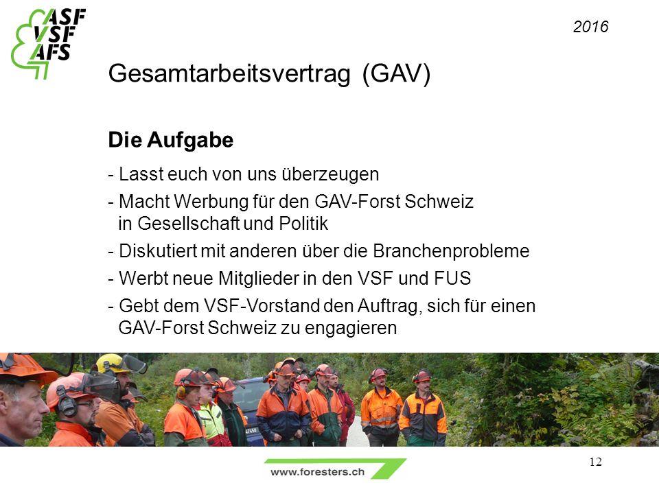 Gesamtarbeitsvertrag (GAV) Die Aufgabe - Lasst euch von uns überzeugen - Macht Werbung für den GAV-Forst Schweiz in Gesellschaft und Politik - Diskutiert mit anderen über die Branchenprobleme - Werbt neue Mitglieder in den VSF und FUS - Gebt dem VSF-Vorstand den Auftrag, sich für einen GAV-Forst Schweiz zu engagieren 2016 12
