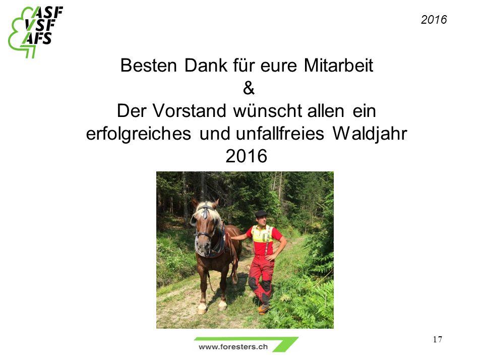 Besten Dank für eure Mitarbeit & Der Vorstand wünscht allen ein erfolgreiches und unfallfreies Waldjahr 2016 2016 17