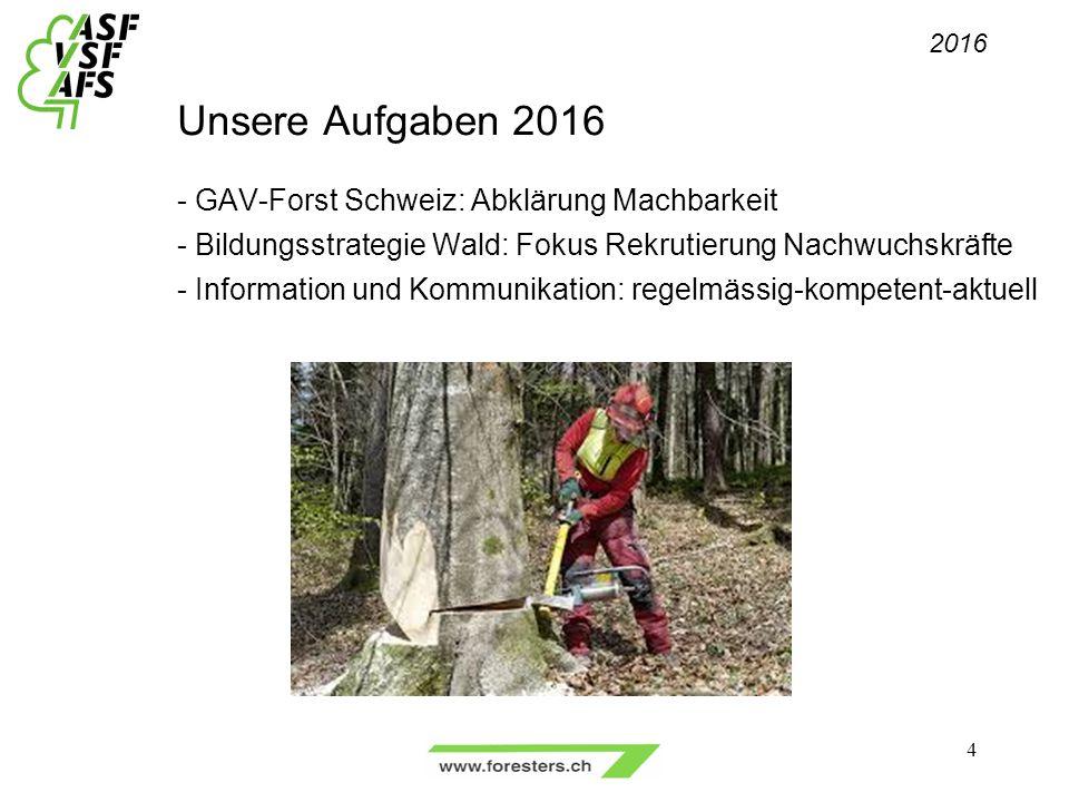 Unsere Aufgaben 2016 - GAV-Forst Schweiz: Abklärung Machbarkeit - Bildungsstrategie Wald: Fokus Rekrutierung Nachwuchskräfte - Information und Kommunikation: regelmässig-kompetent-aktuell 4 2016