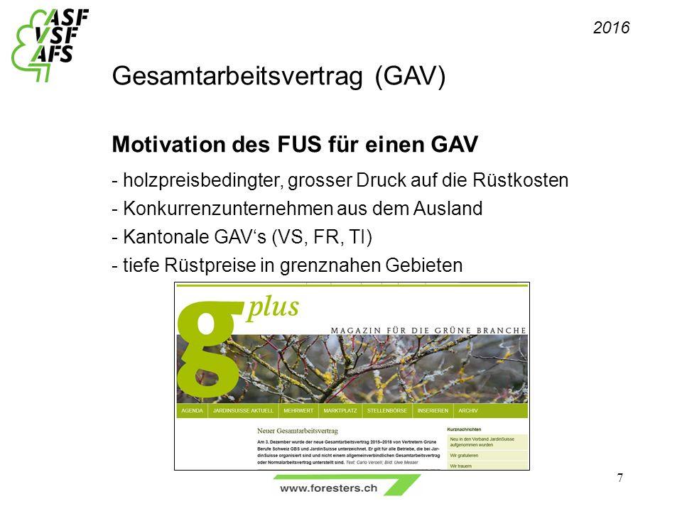 Gesamtarbeitsvertrag (GAV) Motivation des FUS für einen GAV - holzpreisbedingter, grosser Druck auf die Rüstkosten - Konkurrenzunternehmen aus dem Ausland - Kantonale GAV's (VS, FR, TI) - tiefe Rüstpreise in grenznahen Gebieten 2016 7