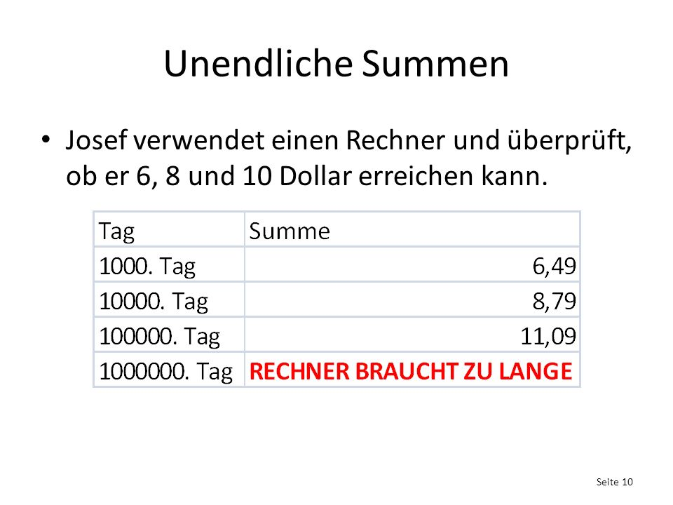 Unendliche Summen Josef verwendet einen Rechner und überprüft, ob er 6, 8 und 10 Dollar erreichen kann.