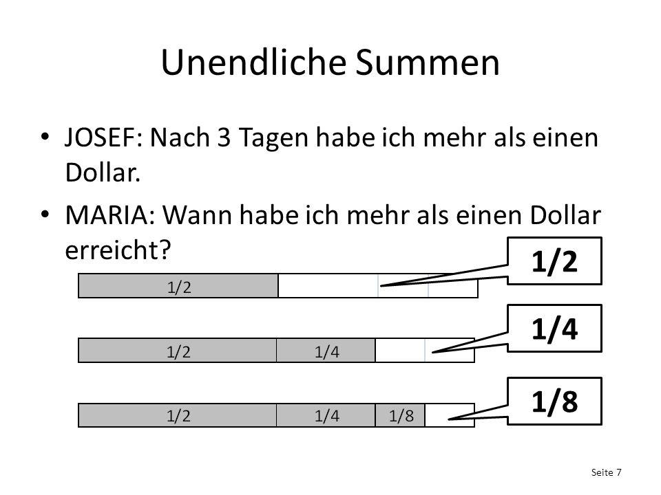 Unendliche Summen JOSEF: Nach 3 Tagen habe ich mehr als einen Dollar.