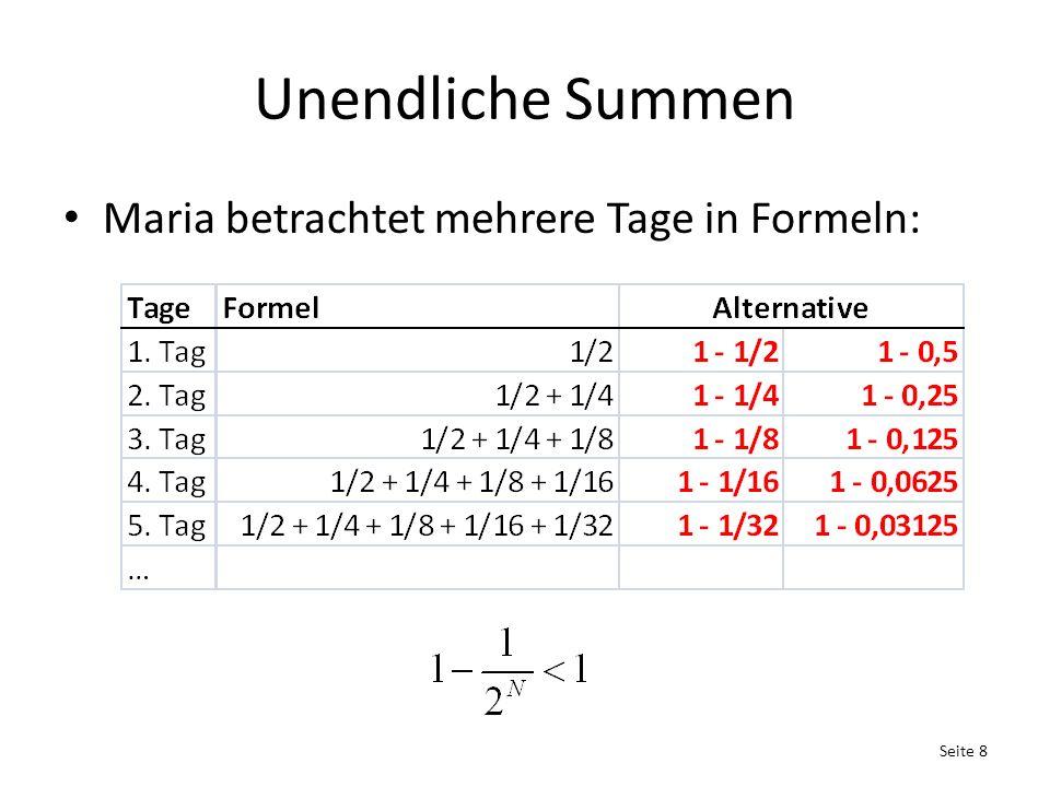 Unendliche Summen Maria betrachtet mehrere Tage in Formeln: Seite 8