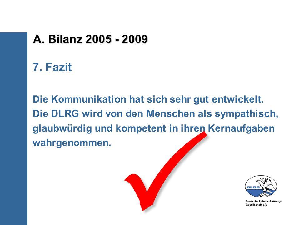 A. Bilanz 2005 - 2009 7. Fazit Die Kommunikation hat sich sehr gut entwickelt.