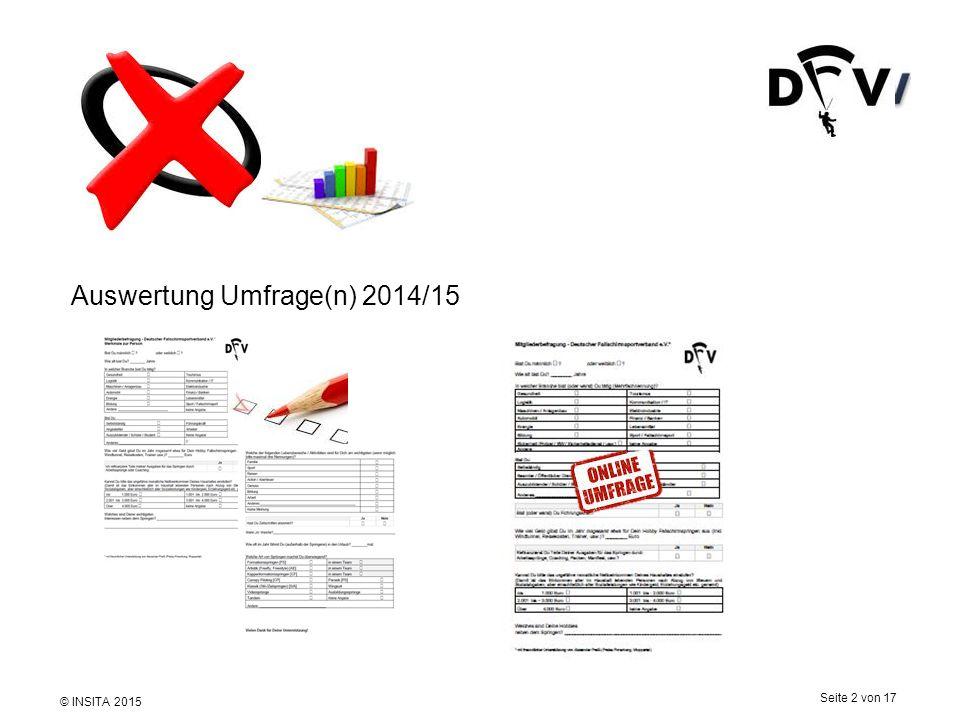 © INSITA 2015 Seite 2 von 17 Auswertung Umfrage(n) 2014/15