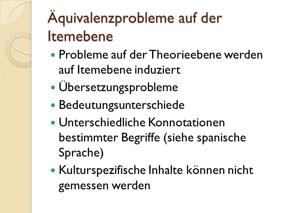 Äquivalenzprobleme auf der Itemebene Probleme auf der Theorieebene werden auf Itemebene induziert Übersetzungsprobleme Bedeutungsunterschiede Unterschiedliche Konnotationen bestimmter Begriffe (siehe spanische Sprache) Kulturspezifische Inhalte können nicht gemessen werden
