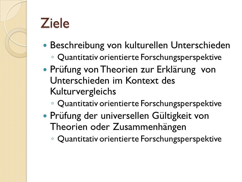 Ziel (1) Theoretische Messinstrumente und Konstrukte, die man auf andere Kulturen übertragen kann, liegen schon vor Verwendung von World Value Survey und European Value Survey Beispiele ◦ PISA Studie ◦ Gerhard (2005) ◦ Inglehart und Baker (2000)