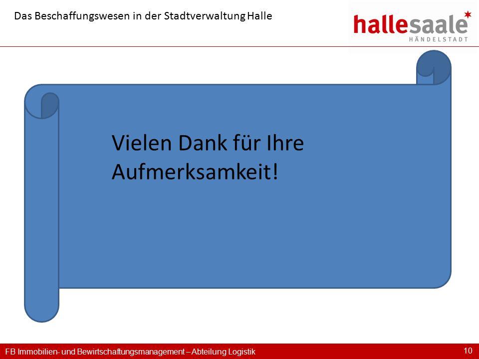FB Immobilien- und Bewirtschaftungsmanagement – Abteilung Logistik 10 Das Beschaffungswesen in der Stadtverwaltung Halle Vielen Dank für Ihre Aufmerks