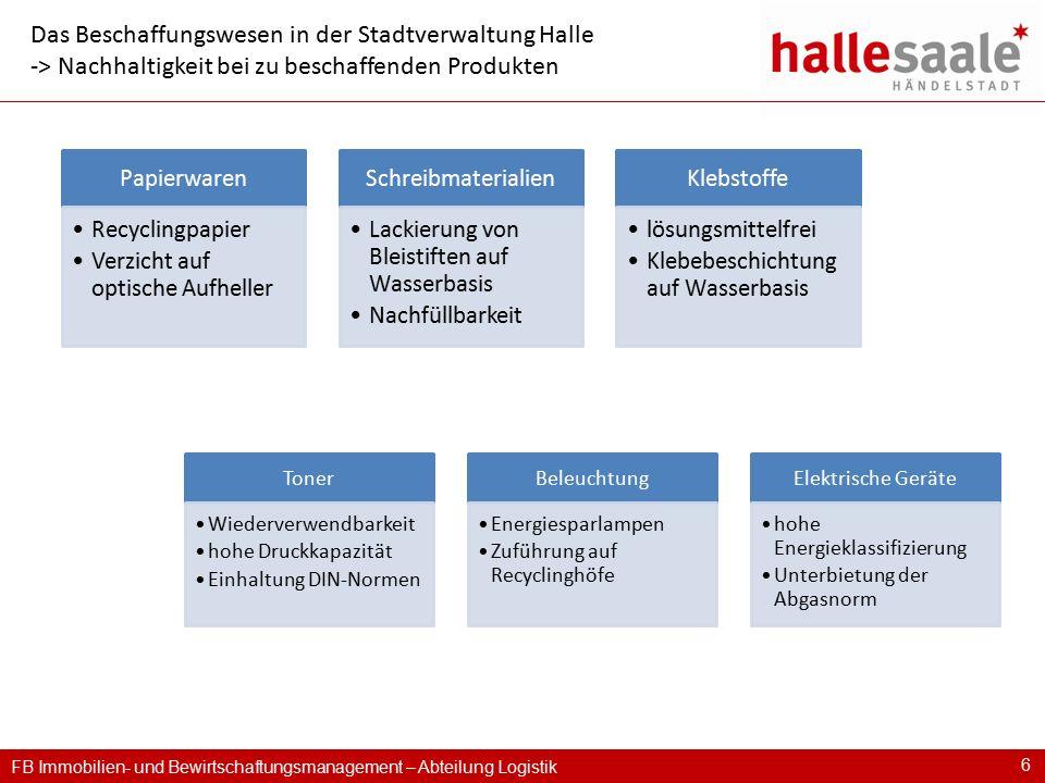FB Immobilien- und Bewirtschaftungsmanagement – Abteilung Logistik 6 Das Beschaffungswesen in der Stadtverwaltung Halle -> Nachhaltigkeit bei zu besch