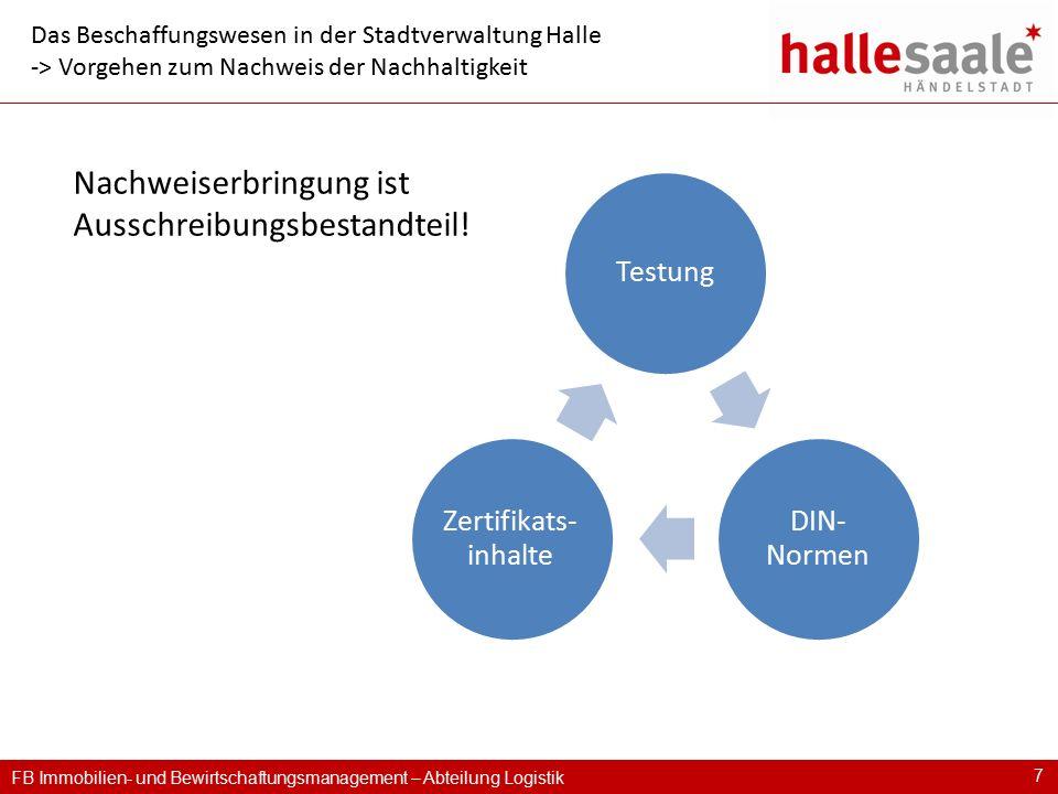 FB Immobilien- und Bewirtschaftungsmanagement – Abteilung Logistik 7 Das Beschaffungswesen in der Stadtverwaltung Halle -> Vorgehen zum Nachweis der N