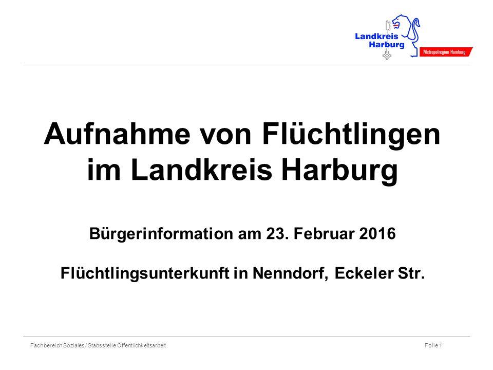 Fachbereich Soziales / Stabsstelle Öffentlichkeitsarbeit Folie 1 Aufnahme von Flüchtlingen im Landkreis Harburg Bürgerinformation am 23. Februar 2016