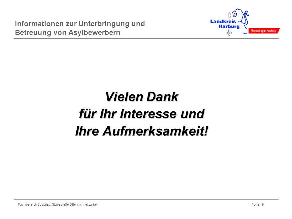 Fachbereich Soziales / Stabsstelle Öffentlichkeitsarbeit Folie 19 Informationen zur Unterbringung und Betreuung von Asylbewerbern Vielen Dank für Ihr