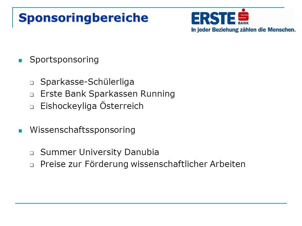 Sponsoringbereiche Sportsponsoring  Sparkasse-Schülerliga  Erste Bank Sparkassen Running  Eishockeyliga Österreich Wissenschaftssponsoring  Summer University Danubia  Preise zur Förderung wissenschaftlicher Arbeiten