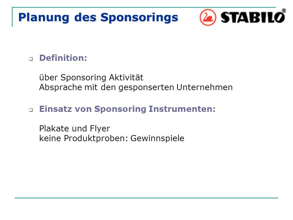 Planung des Sponsorings  Definition: über Sponsoring Aktivität Absprache mit den gesponserten Unternehmen  Einsatz von Sponsoring Instrumenten: Plakate und Flyer keine Produktproben: Gewinnspiele