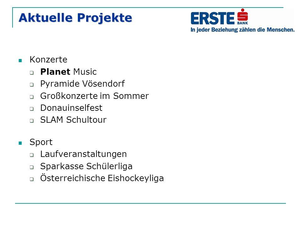 Aktuelle Projekte Konzerte  Planet Music  Pyramide Vösendorf  Großkonzerte im Sommer  Donauinselfest  SLAM Schultour Sport  Laufveranstaltungen  Sparkasse Schülerliga  Österreichische Eishockeyliga