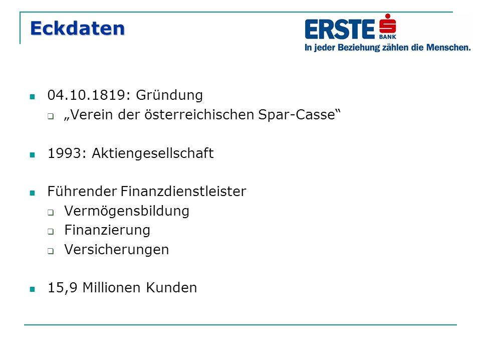 """Eckdaten 04.10.1819: Gründung  """"Verein der österreichischen Spar-Casse 1993: Aktiengesellschaft Führender Finanzdienstleister  Vermögensbildung  Finanzierung  Versicherungen 15,9 Millionen Kunden"""