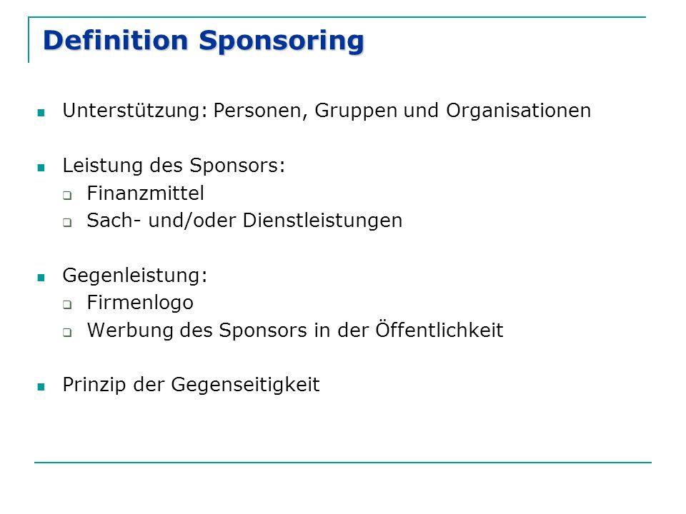Definition Sponsoring Unterstützung: Personen, Gruppen und Organisationen Leistung des Sponsors:  Finanzmittel  Sach- und/oder Dienstleistungen Gegenleistung:  Firmenlogo  Werbung des Sponsors in der Öffentlichkeit Prinzip der Gegenseitigkeit