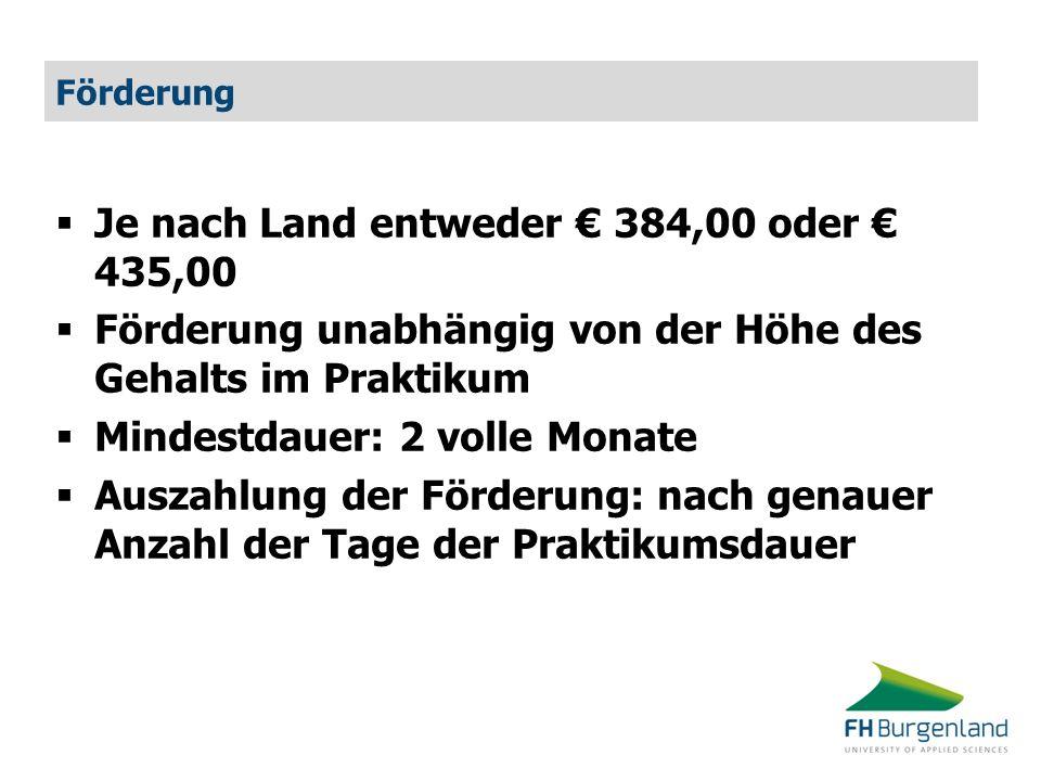 Förderung  Je nach Land entweder € 384,00 oder € 435,00  Förderung unabhängig von der Höhe des Gehalts im Praktikum  Mindestdauer: 2 volle Monate 