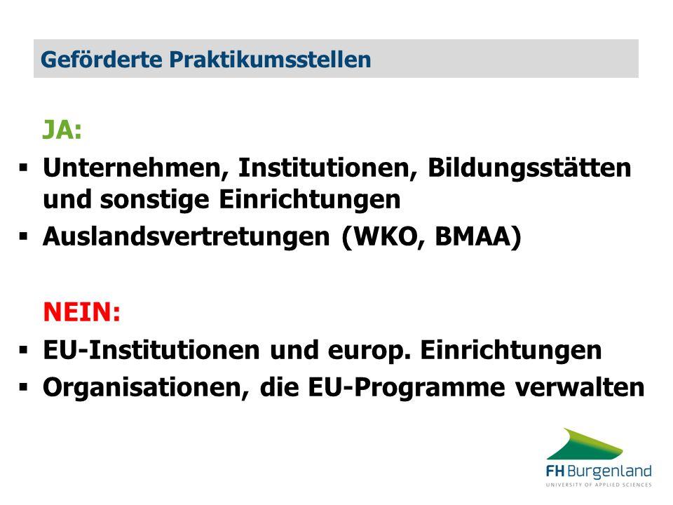 Geförderte Praktikumsstellen JA:  Unternehmen, Institutionen, Bildungsstätten und sonstige Einrichtungen  Auslandsvertretungen (WKO, BMAA) NEIN:  EU-Institutionen und europ.