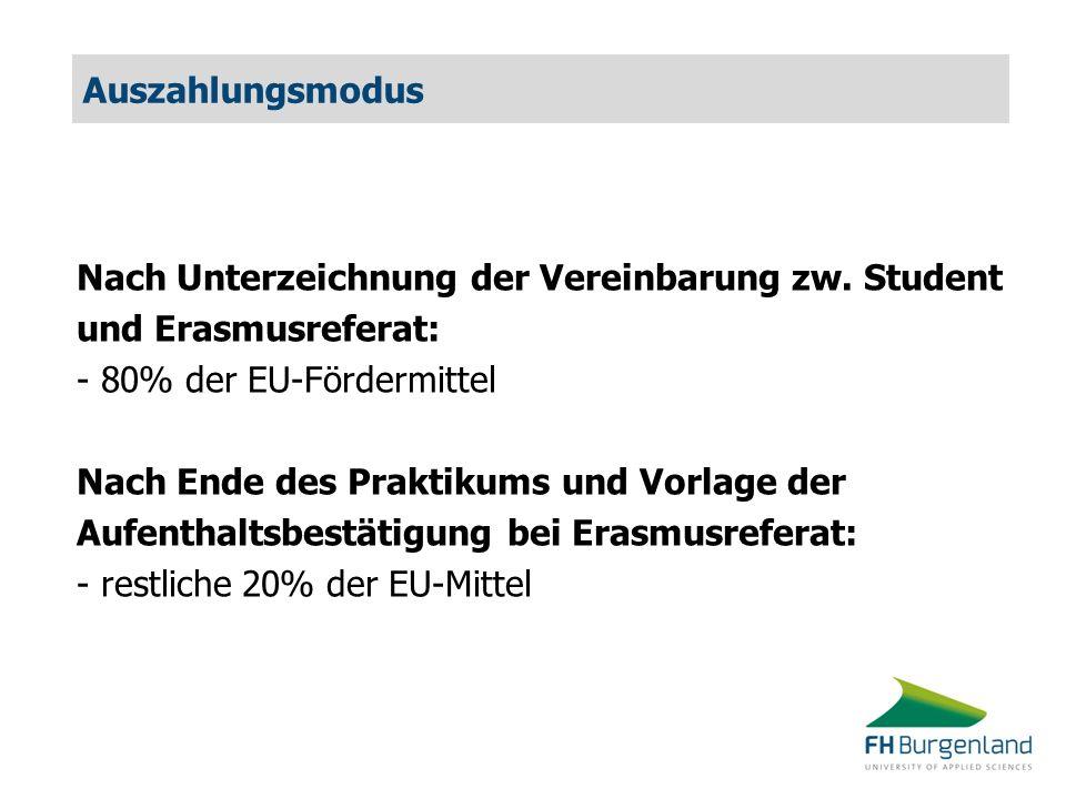 Auszahlungsmodus Nach Unterzeichnung der Vereinbarung zw. Student und Erasmusreferat: - 80% der EU-Fördermittel Nach Ende des Praktikums und Vorlage d