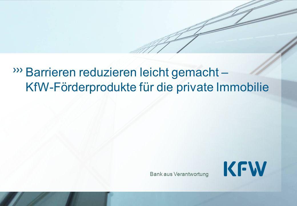 Gründung:1948 Anteilseigner: 80 % Bund, 20 % Bundesländer Refinanzierung:90 % Kapitalmarkt, Bundesmittel Rating:AAA / Aaa Sitz: Frankfurt am Main Niederlassungen:Berlin, Bonn Fördervolumen 2013:72,5 Mrd.