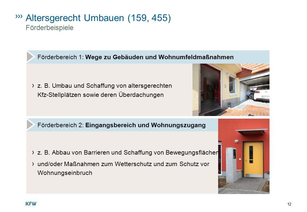 Altersgerecht Umbauen (159, 455) Förderbeispiele Förderbereich 1: Wege zu Gebäuden und Wohnumfeldmaßnahmen › z. B. Umbau und Schaffung von altersgerec