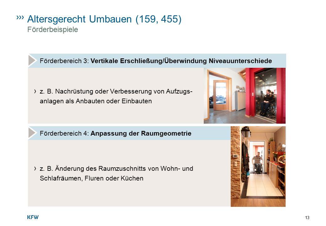 Altersgerecht Umbauen (159, 455) Förderbeispiele Förderbereich 3: Vertikale Erschließung/Überwindung Niveauunterschiede › z. B. Nachrüstung oder Verbe
