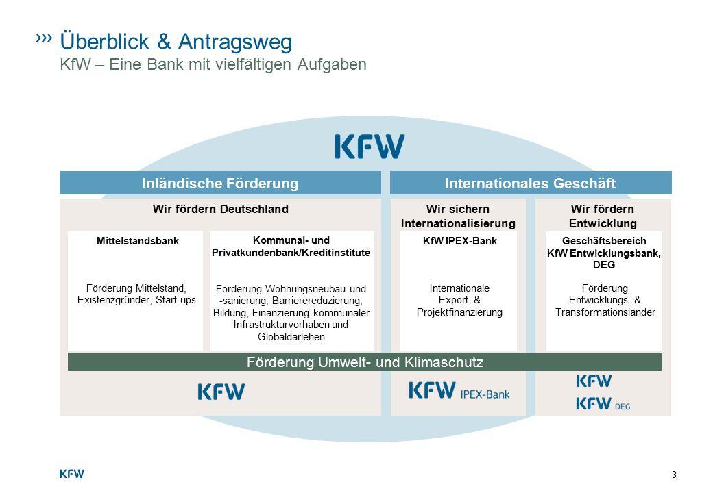 Überblick & Antragsweg KfW – Eine Bank mit vielfältigen Aufgaben Wir fördern Entwicklung Förderung Entwicklungs- & Transformationsländer International