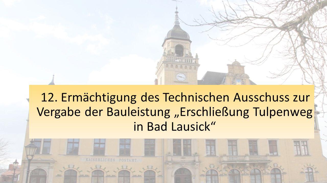 """12. Ermächtigung des Technischen Ausschuss zur Vergabe der Bauleistung """"Erschließung Tulpenweg in Bad Lausick"""""""