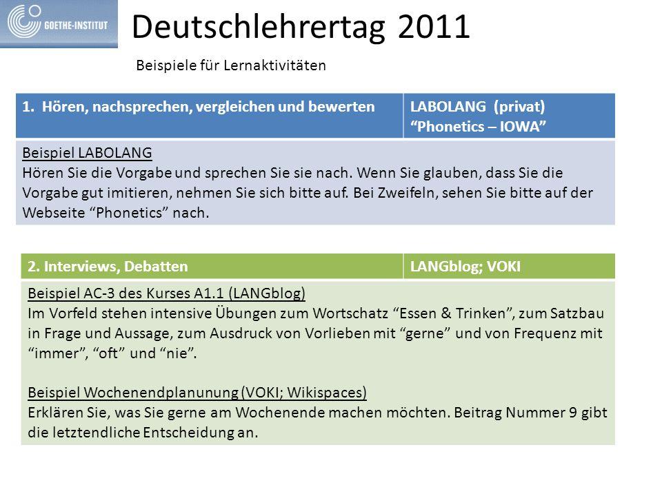Deutschlehrertag 2011 Beispiele für Lernaktivitäten 1.