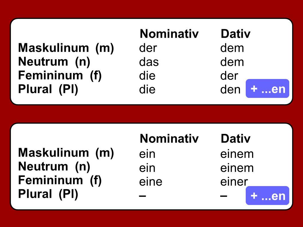 NominativDativ Maskulinum (m) Neutrum (n) Femininum (f) Plural (Pl) NominativDativ Maskulinum (m) Neutrum (n) Femininum (f) Plural (Pl) +...en der das