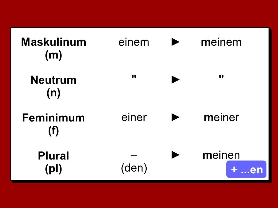 Maskulinum (m) Neutrum (n) Feminimum (f) Plural (pl) einem►meinem ► einer►meiner – (den) ►meinen +...en