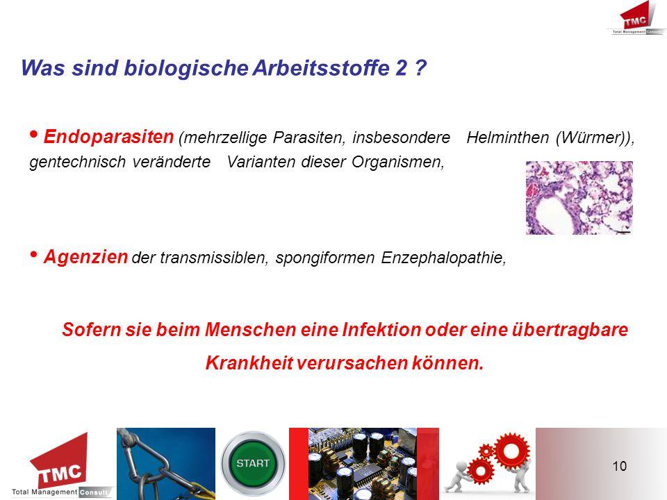 10 Was sind biologische Arbeitsstoffe 2 ? Endoparasiten (mehrzellige Parasiten, insbesondere Helminthen (Würmer)), gentechnisch veränderte Varianten d