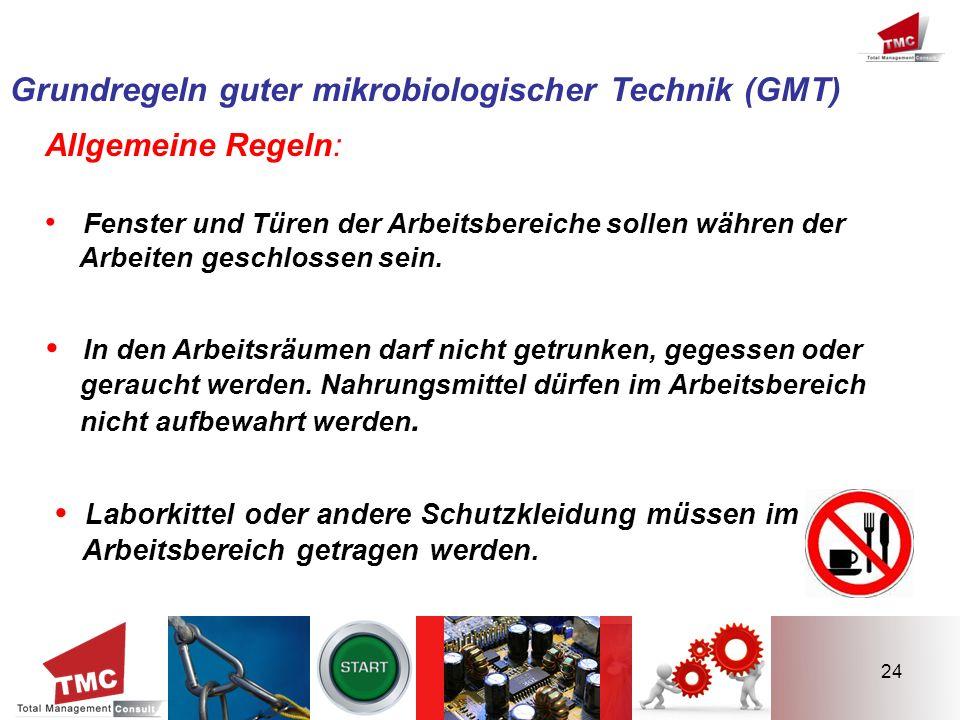 24 Grundregeln guter mikrobiologischer Technik (GMT) Allgemeine Regeln: Fenster und Türen der Arbeitsbereiche sollen währen der Arbeiten geschlossen s
