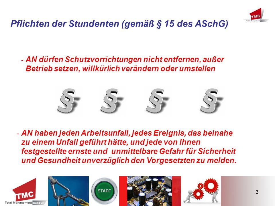 3 Pflichten der Stundenten (gemäß § 15 des ASchG) - AN dürfen Schutzvorrichtungen nicht entfernen, außer Betrieb setzen, willkürlich verändern oder um