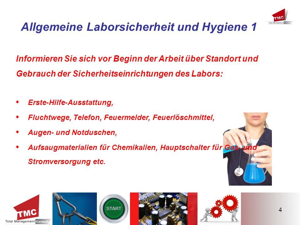 4 Allgemeine Laborsicherheit und Hygiene 1 Informieren Sie sich vor Beginn der Arbeit über Standort und Gebrauch der Sicherheitseinrichtungen des Labo