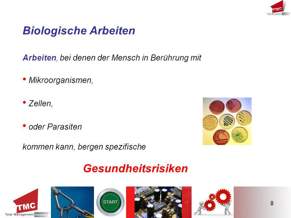 8 Biologische Arbeiten Arbeiten, bei denen der Mensch in Berührung mit Mikroorganismen, Zellen, oder Parasiten kommen kann, bergen spezifische Gesundh