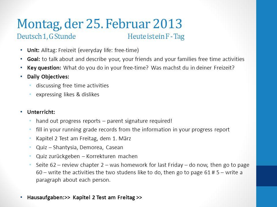 Hausaufgaben-Homework page 61 # 5 write a paragraph about each person: Nicole, Martin & Julia.