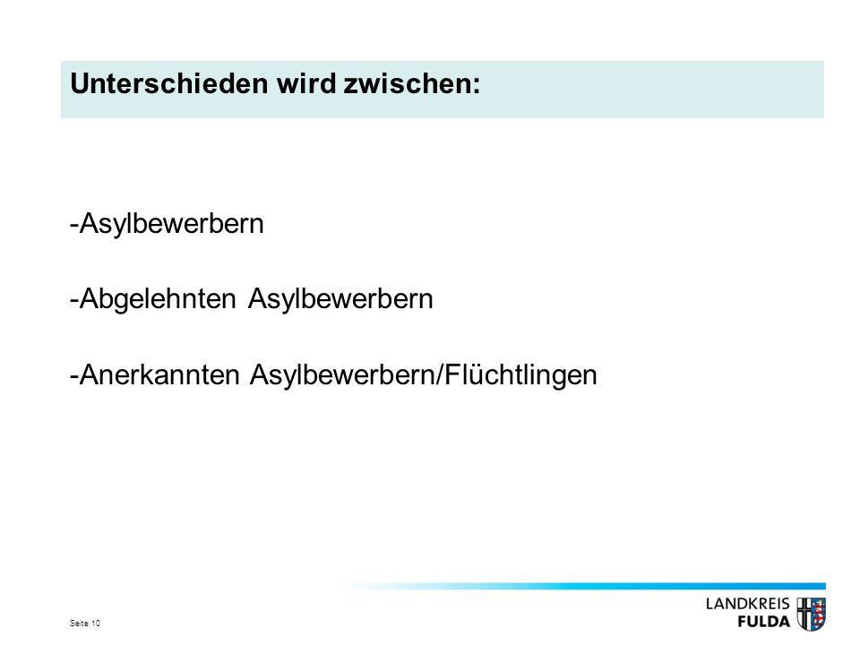 Seite 10 Unterschieden wird zwischen: -Asylbewerbern -Abgelehnten Asylbewerbern -Anerkannten Asylbewerbern/Flüchtlingen