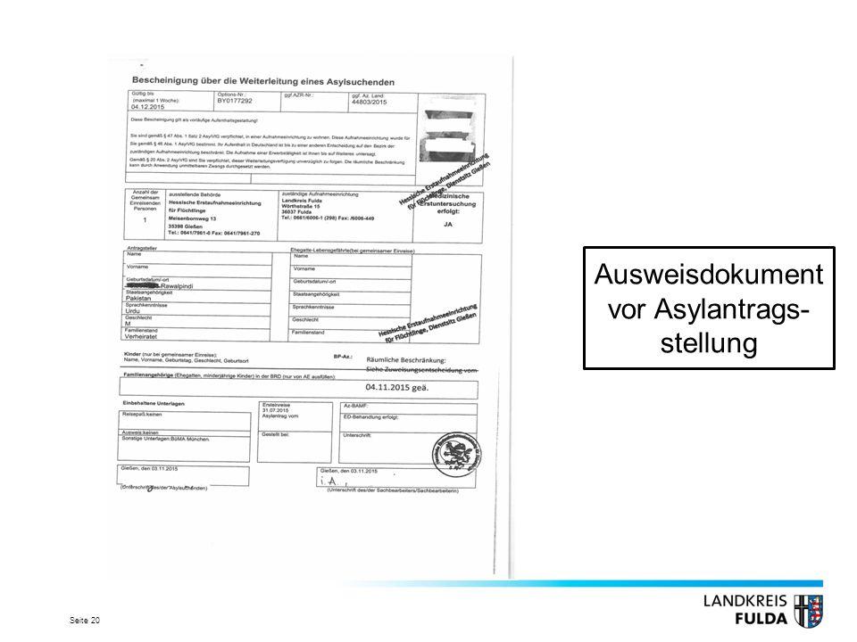 Seite 20 Ausweisdokument vor Asylantrags- stellung
