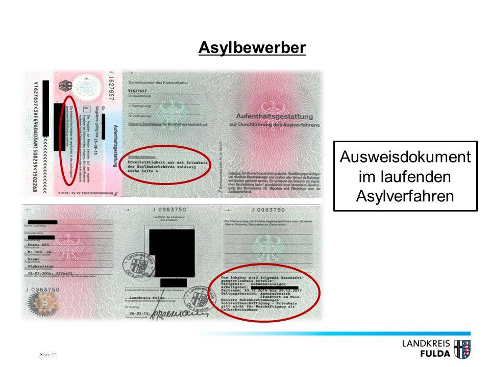 Seite 21 Asylbewerber Ausweisdokument im laufenden Asylverfahren